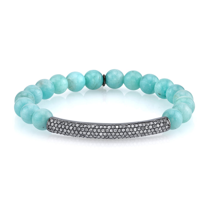 Amazonite and Pavé Diamond Bracelet