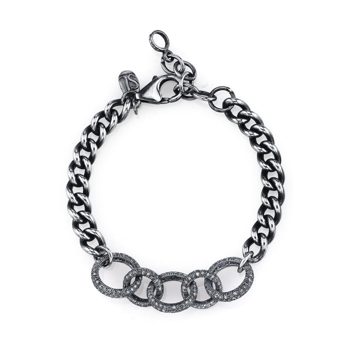 Curb Chain Bracelet with Pavé Diamond Links