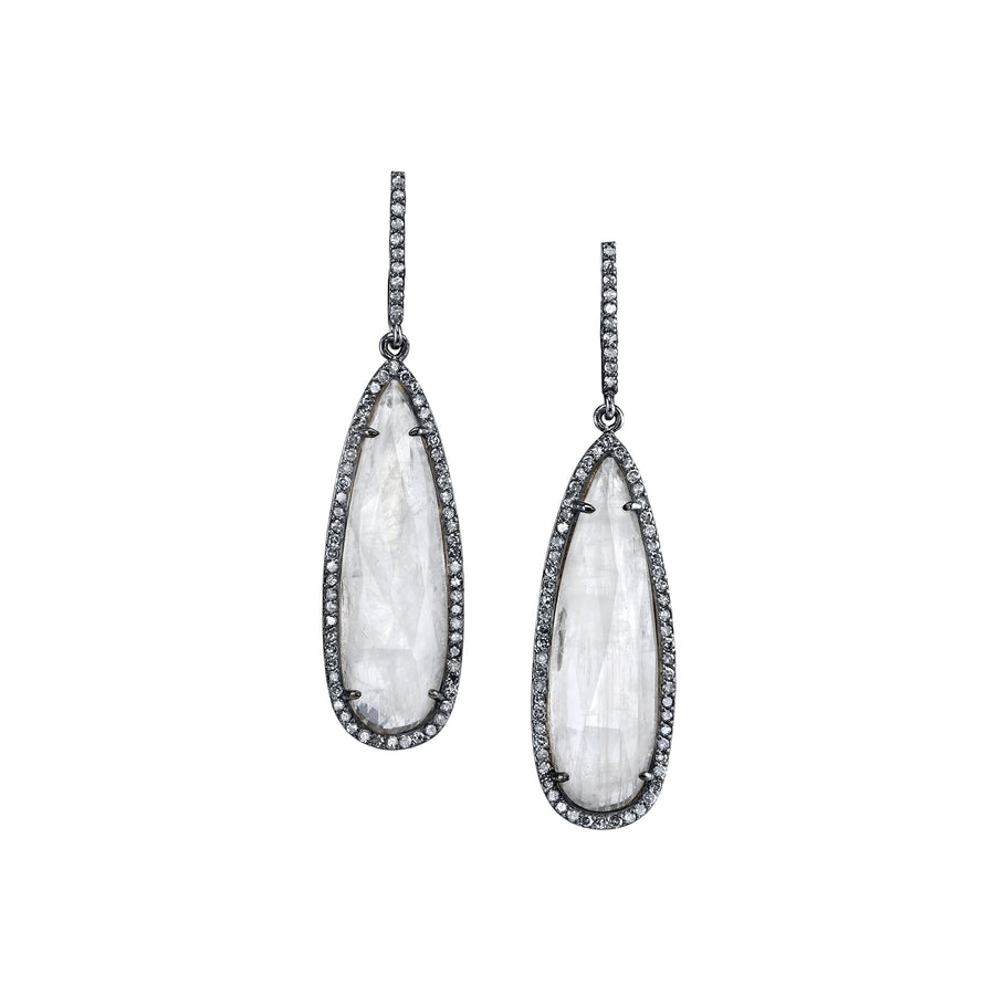 Moonstone Teardrop Earrings with Diamonds