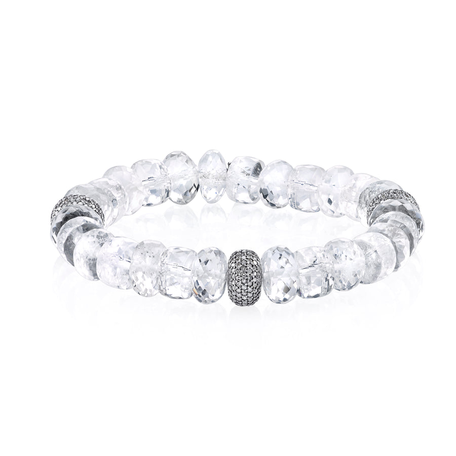 Crystal Quartz and Diamond Bracelet