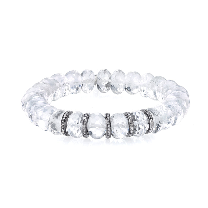 Crystal Quartz and Pavé Diamond Bracelet