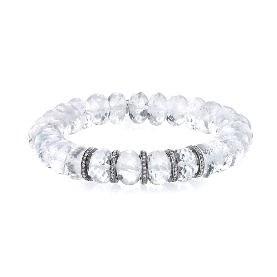 Crystal Quartz Bracelet With Five Diamond Rondelles