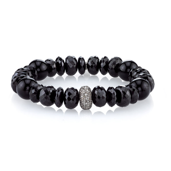 Mixed Onyx and Pavé Diamond Bracelet