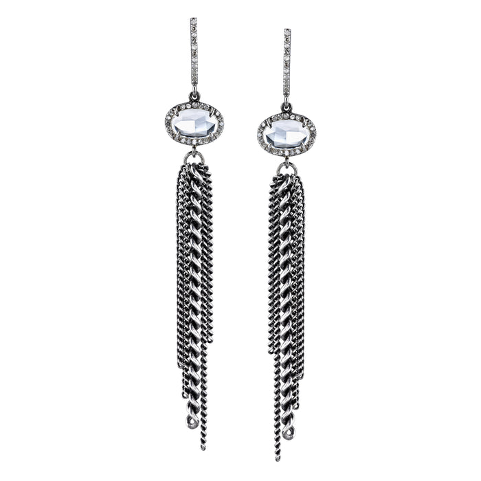 White Topaz Pavé Diamond Fringe Earrings