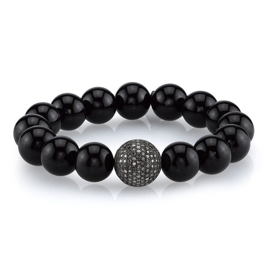 Black Onyx Bracelet With Round Diamond Bead