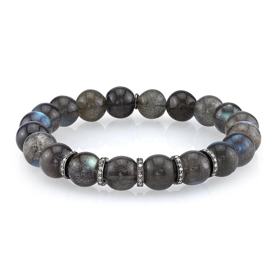 Labradorite Bracelet With Five Diamond Rondelles