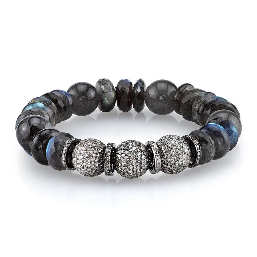 Labradorite Bracelet With Diamond Beads