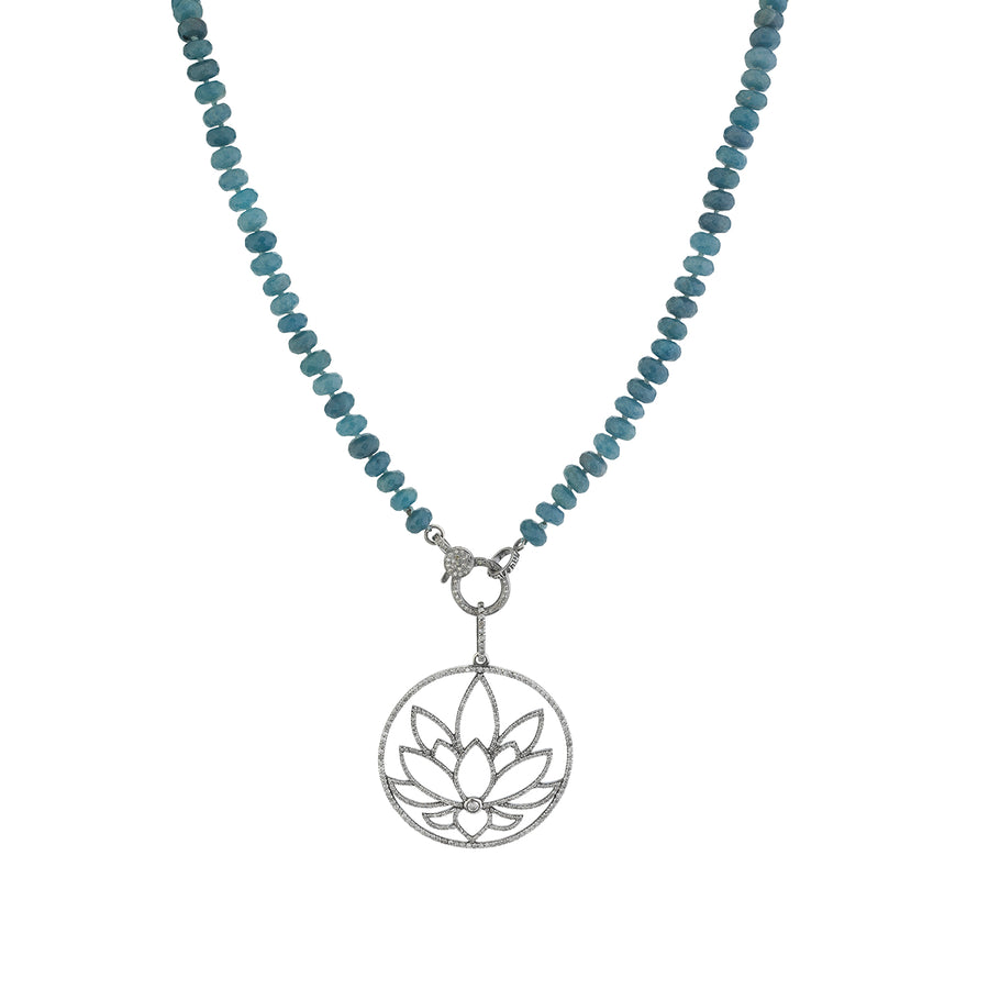 Diamond Lotus Flower on Paraiba Quartz Knotted Necklace