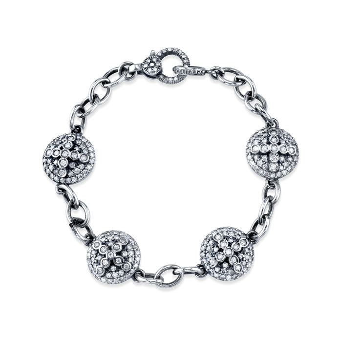 Pavé Diamond Dome Cross Eternity Bracelet