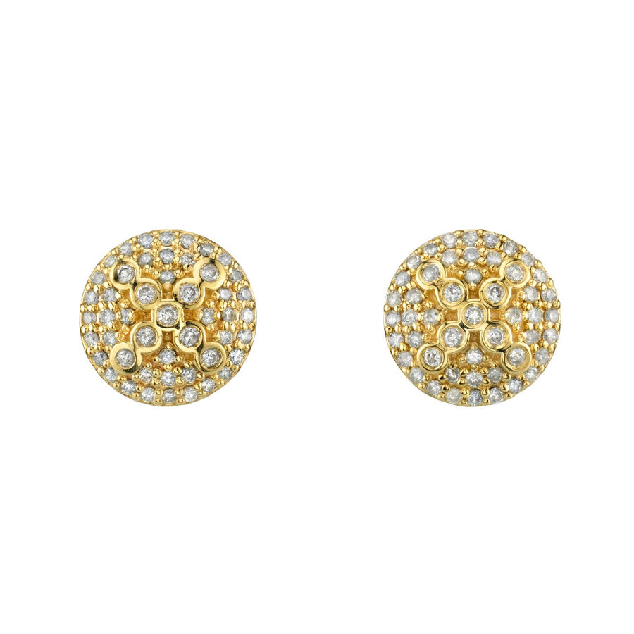 14K Gold Stud Earrings With Bezel Cross