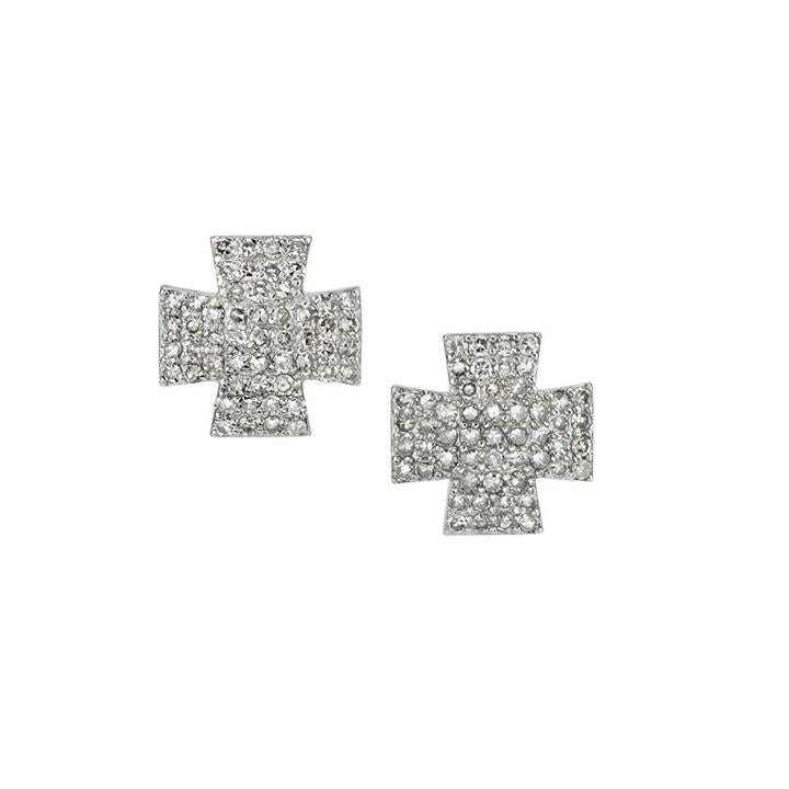 Silver Pavé Diamond Maltese Cross Stud Earrings