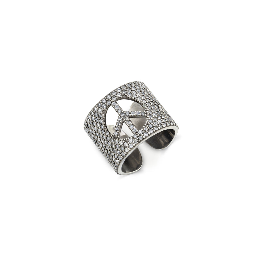 Diamond Peace Cuff Ring