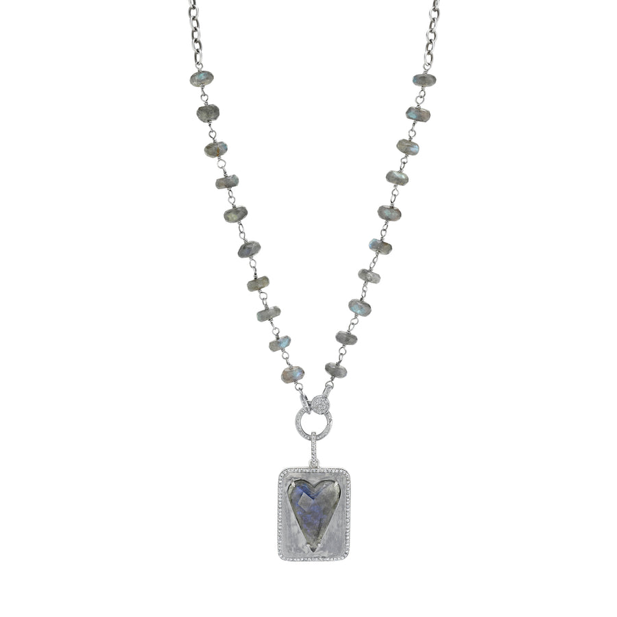 Labradorite Rose Cut Heart Tag Necklace