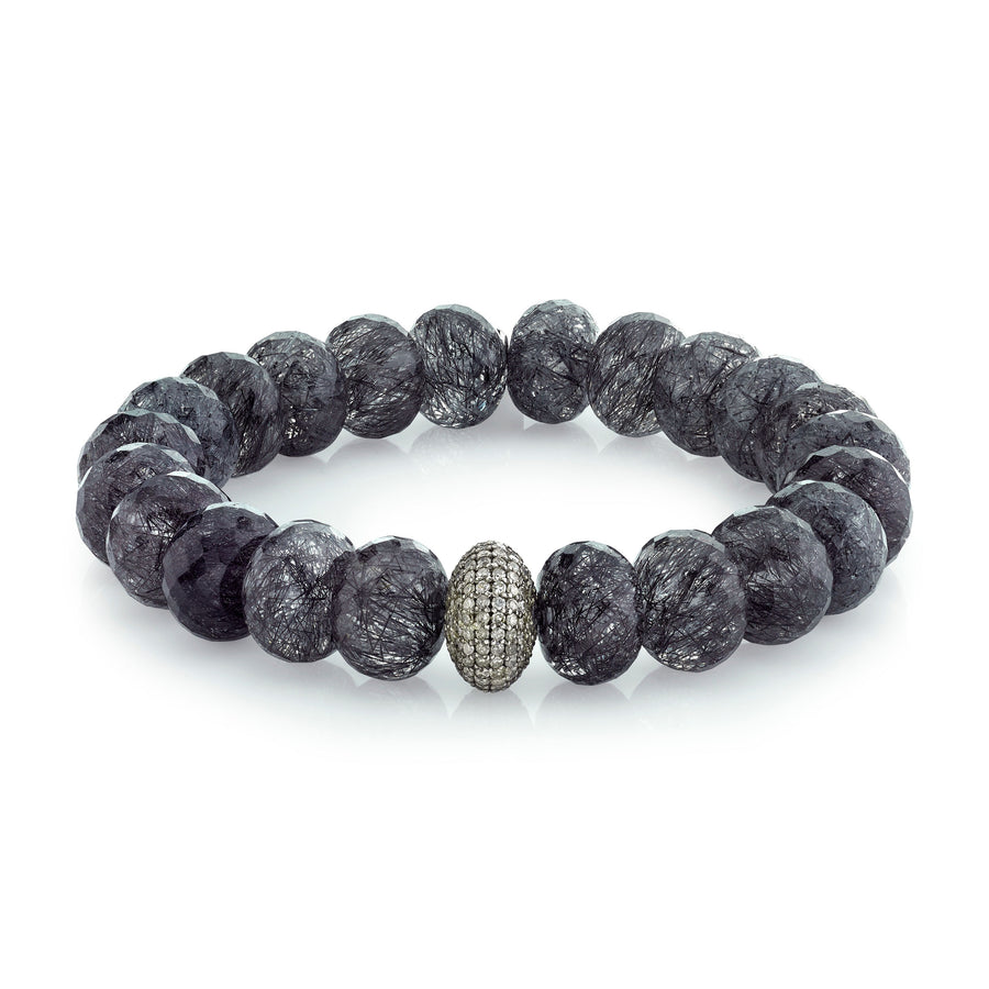 Black Tourmalinated Quartz and Diamond Bracelet