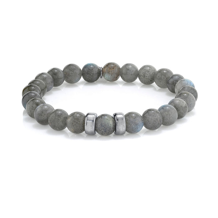 LABRADORITE BRACELET WITH SILVER BEADS