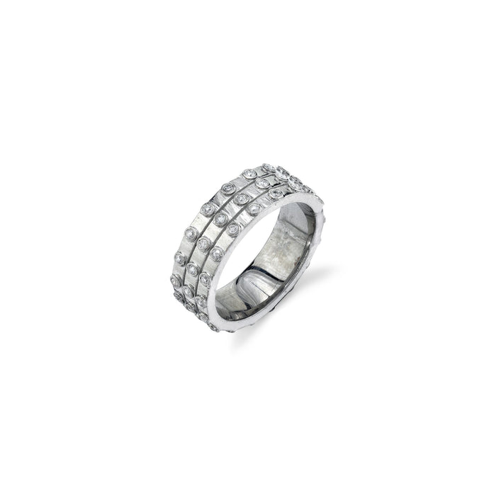 BEZEL DIAMOND TRIPLE ROW RING