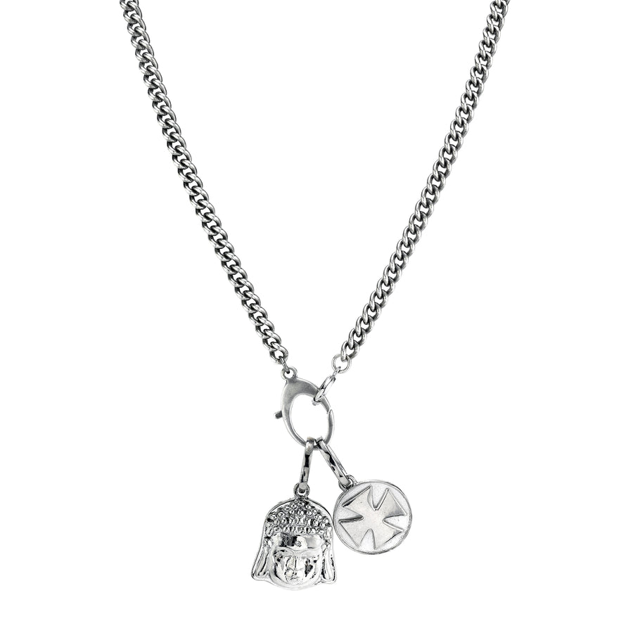 Buddha and Cross Chain Necklace
