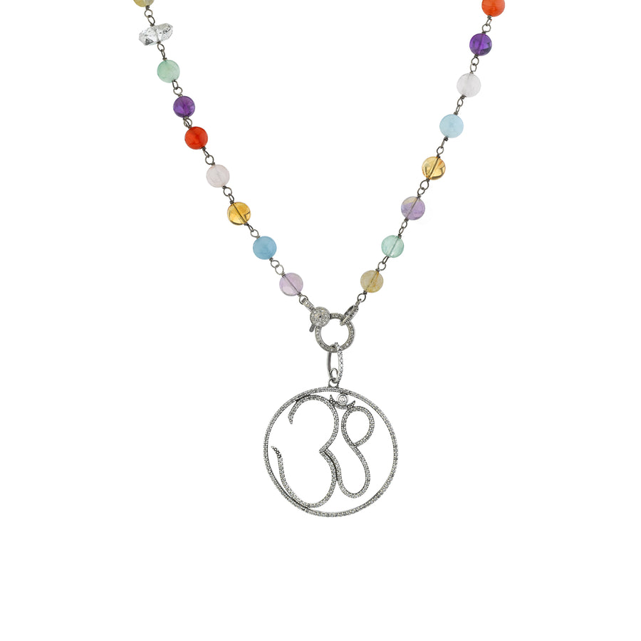 Chakra Stone Necklace with Diamond Om Pendant