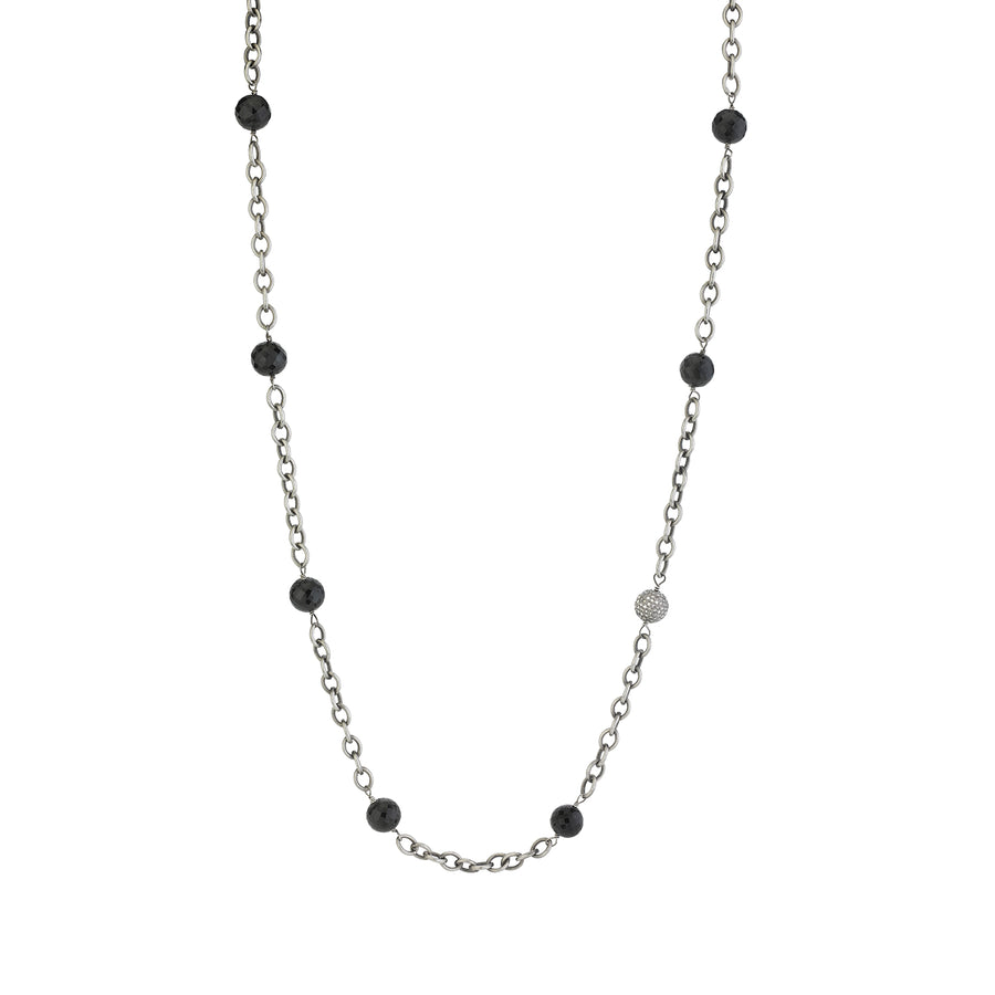 Black Spinel Layering Chain Necklace