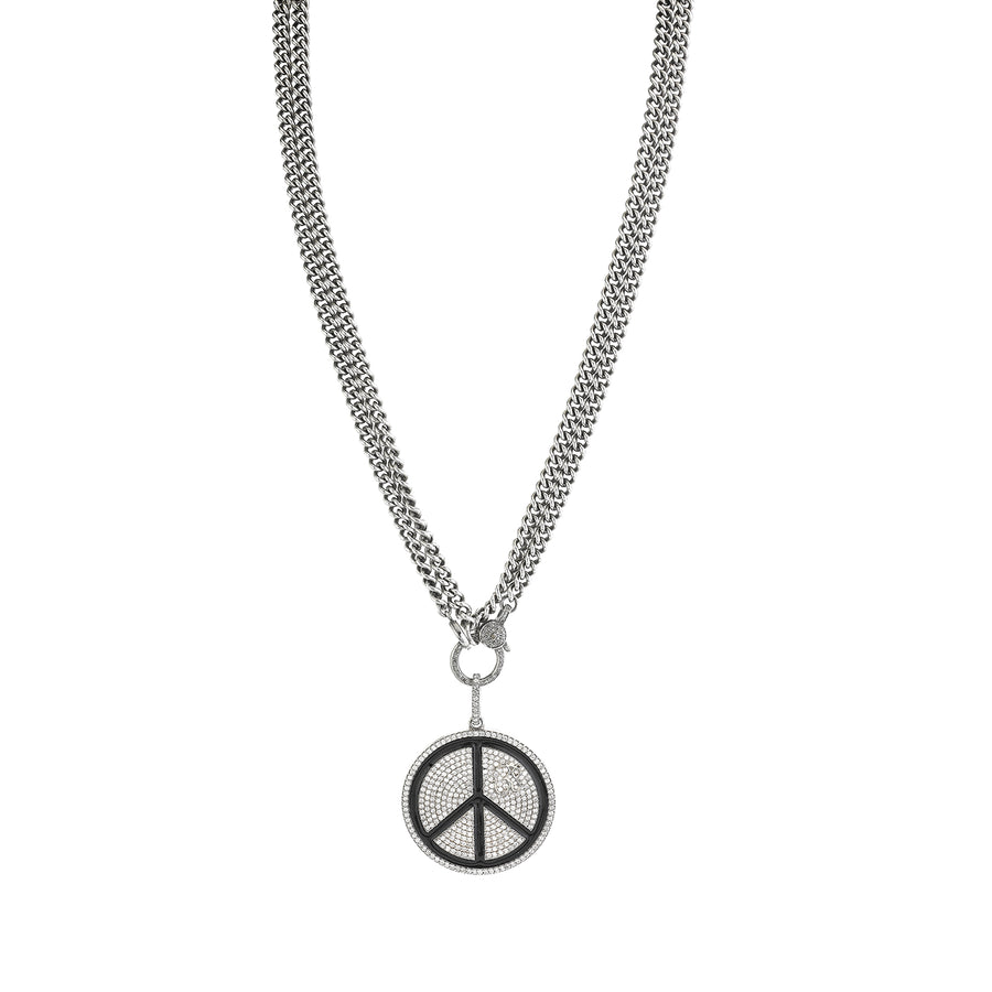 Black Enamel and Diamond Peace Sign Necklace