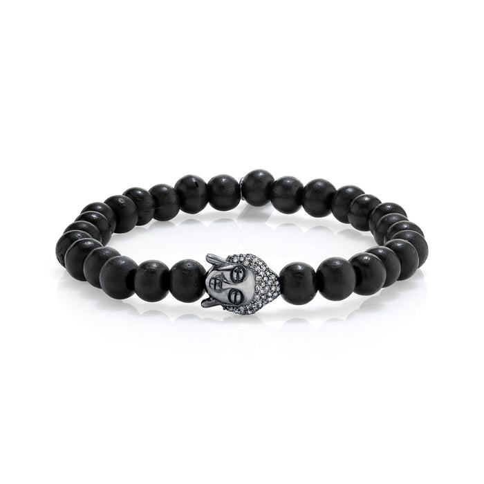 BLACK EBONY BRACELET WITH SILVER BUDDHA