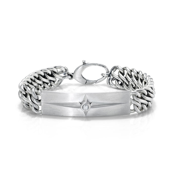 CROSS BEZEL DIAMOND ID BRACELET