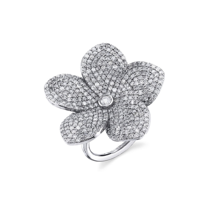 Plumeria with Bezeled Diamond Center Ring