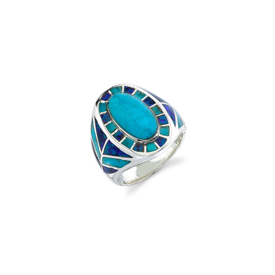 Mr. LOWE Turquoise and Blue Opal Southwest Ring