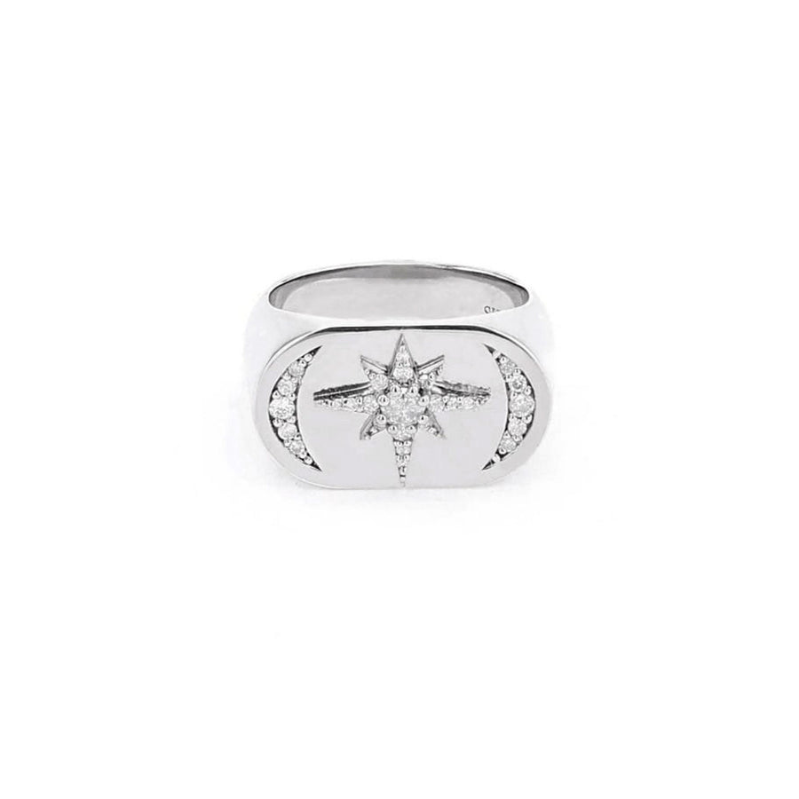 Moon and Star Signet Ring