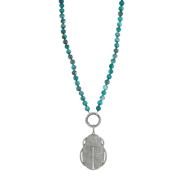 SCARAB CHRYSOCOLLA KNOTTED NECKLACE