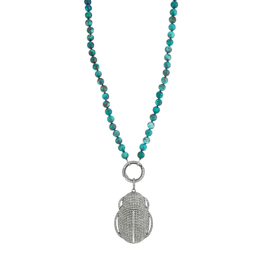 Chrysocolla Knotted Necklace With Diamond Scarab