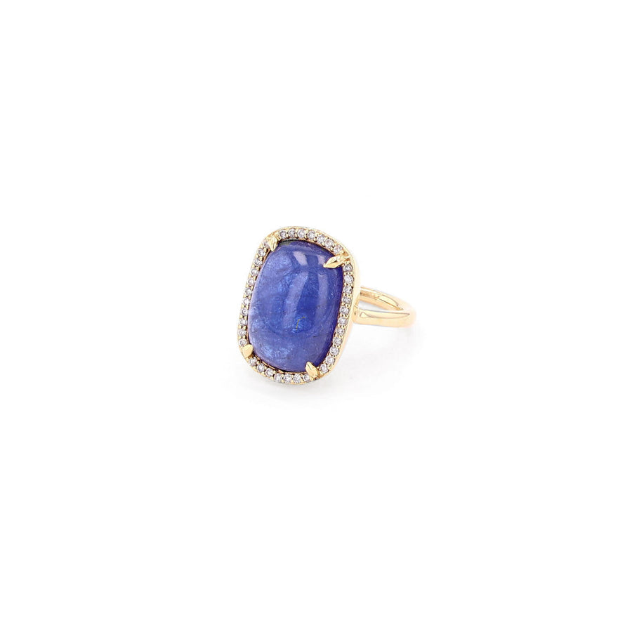 14k Gold and Tanzanite Cabochon Ring
