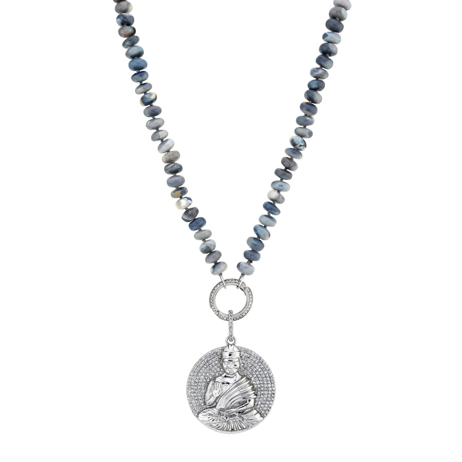 Sitting Buddha Gray Opal Knotted Necklace
