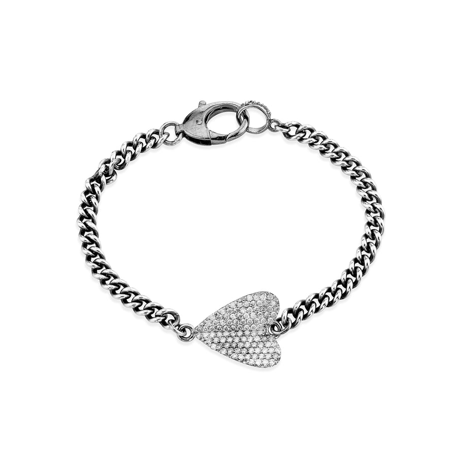 Folded Heart Curb Chain Bracelet