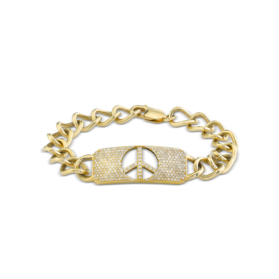 14k Gold Diamond ID Bracelet with Peace Cut Out