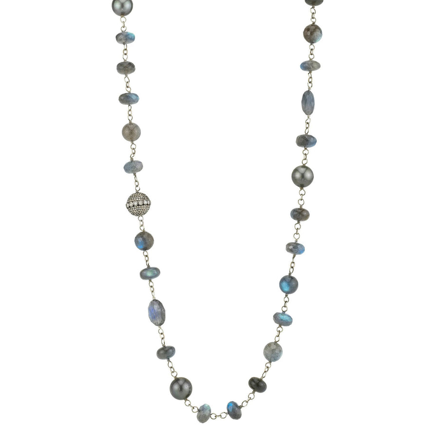 Gray Mixed Gemstones Necklace