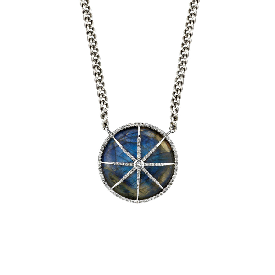 Labradorite Circle Star Curb Chain Necklace