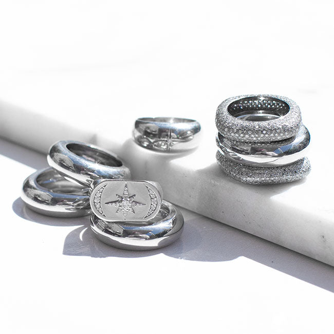 Silver Domed Stacking Band