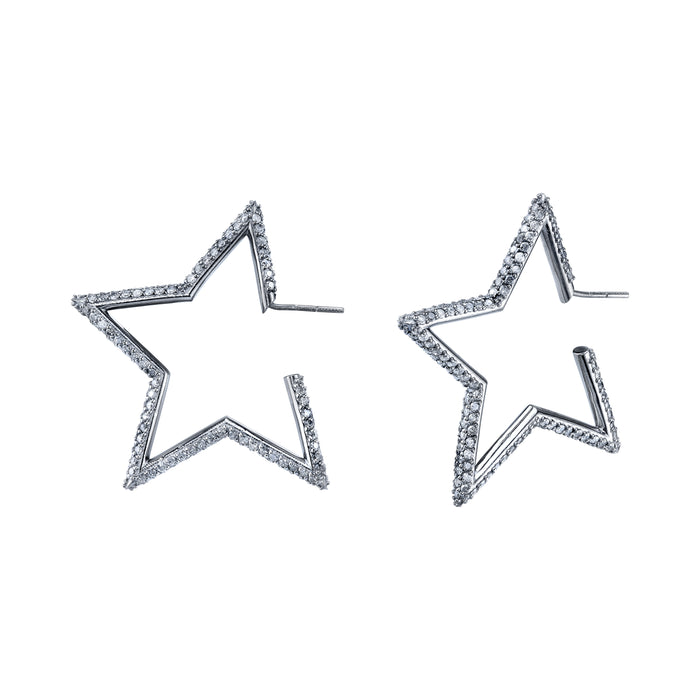 PAVÉ DIAMOND STAR HOOP EARRINGS