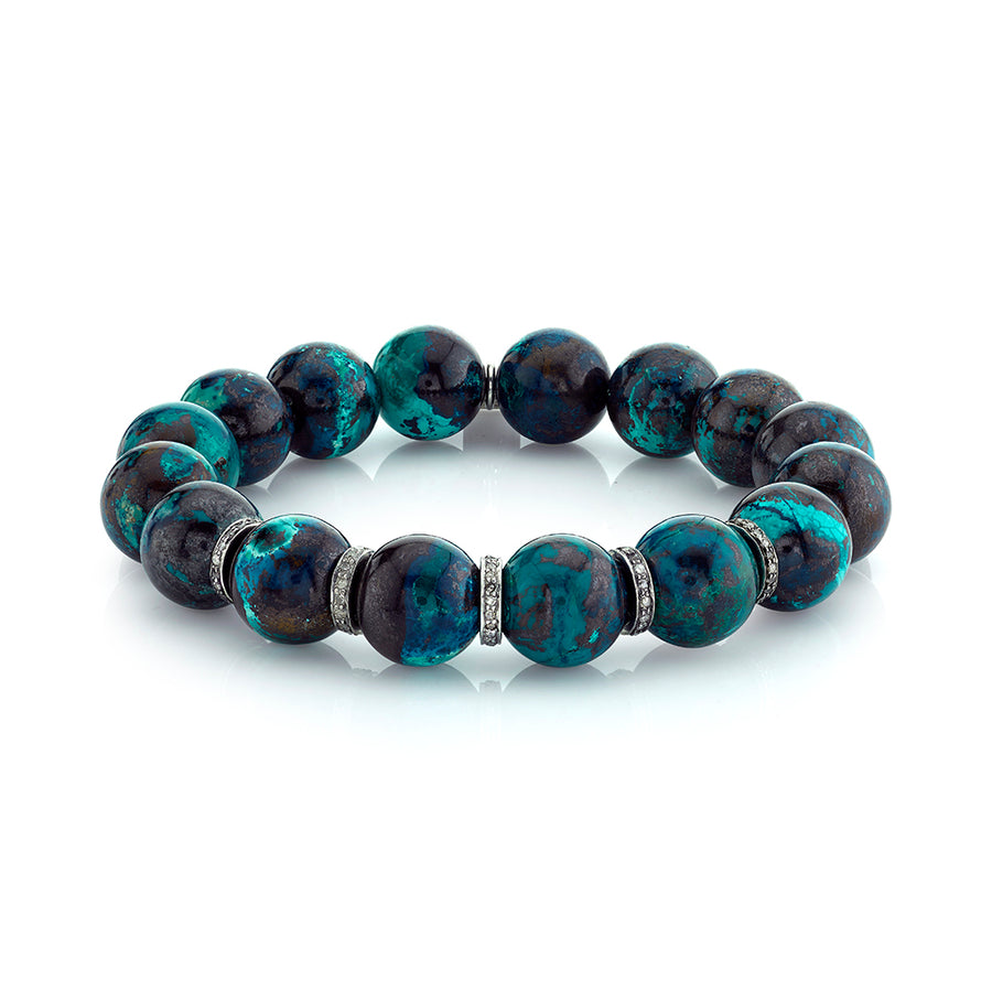 Chrysocolla Bracelet With Five Diamond Rondelles
