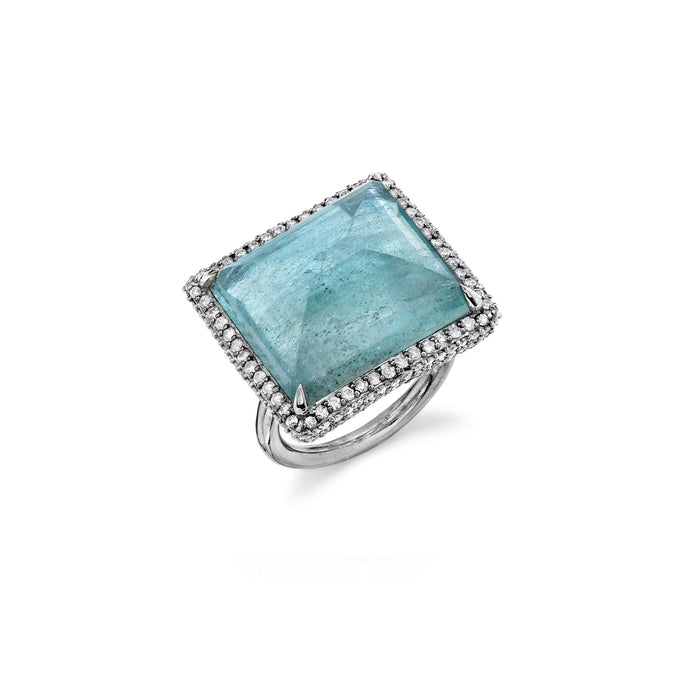 EMERALD CUT MOSS AQUAMARINE RING
