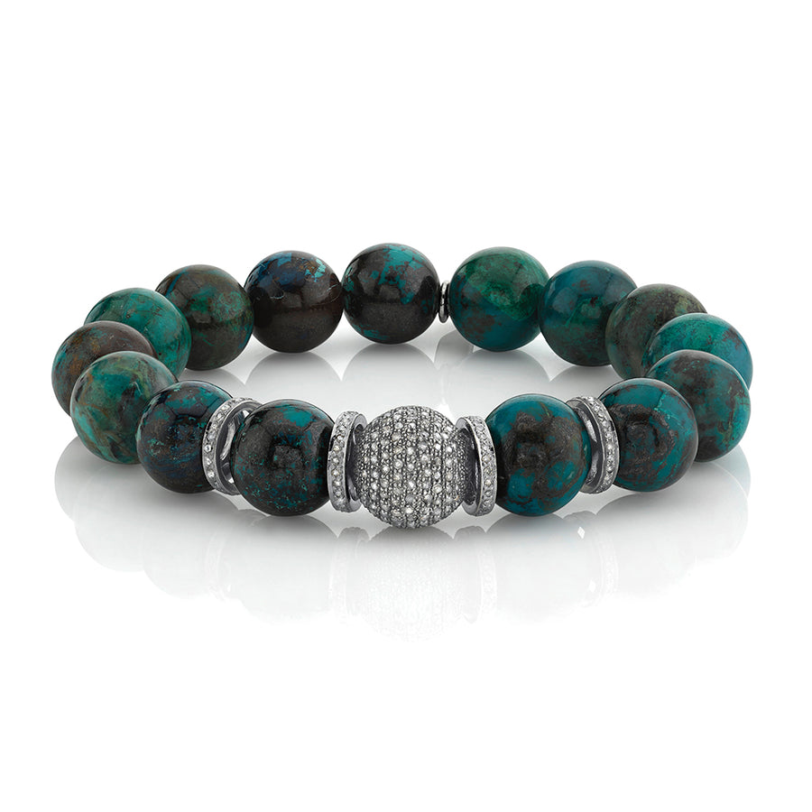 Chrysocolla Bracelet With Diamond Beads