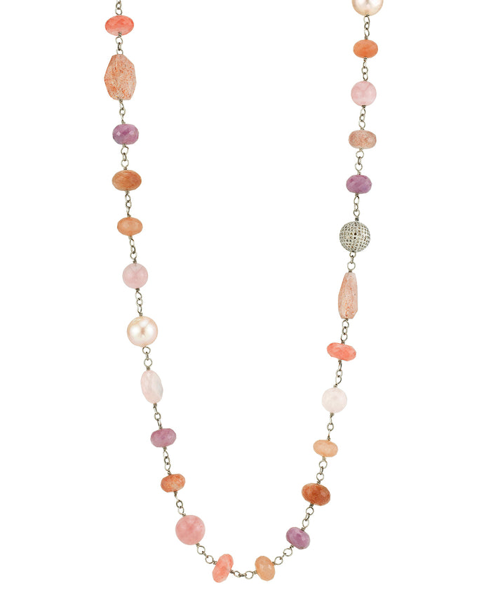 PINK MIXED GEMSTONE WIRE WRAP NECKLACE