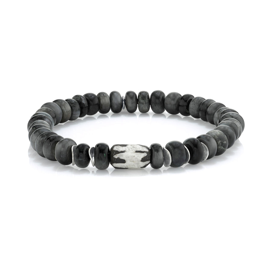 Mr. LOWE Gray Cats Eye Bracelet with African and Silver Beads