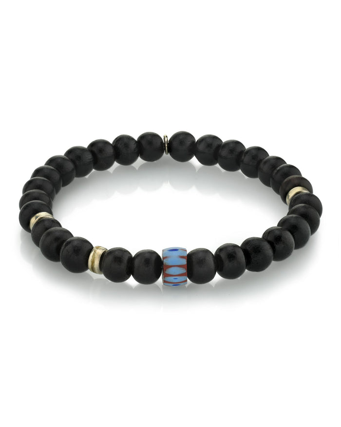 BLACK EBONY BRACELET WITH AFRICAN AND SILVER BEADS