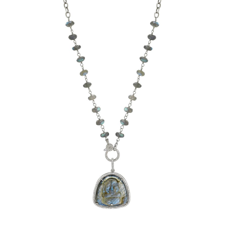 Labradorite Carved Sitting Buddha Necklace