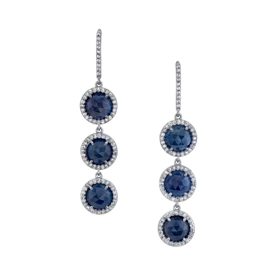 Three Tier Drop Sapphire Earrings