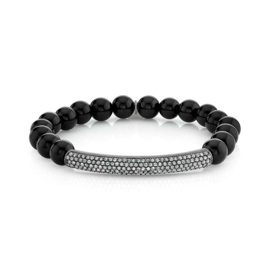 Black Onyx Bracelet With Diamond Bar