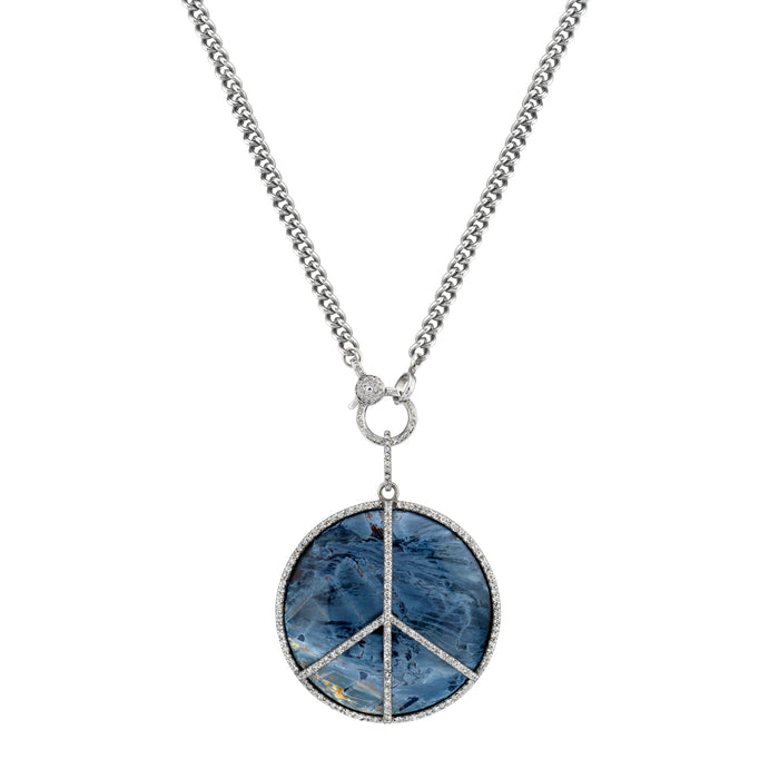 PEACE SIGN PIETERSITE CURB CHAIN NECKLACE