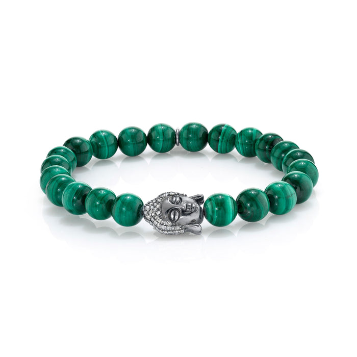 MALACHITE BRACELET WITH SILVER BUDDHA